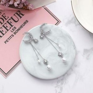Sparkling Pave Moon Star Pearl Dangle Earrings NEW